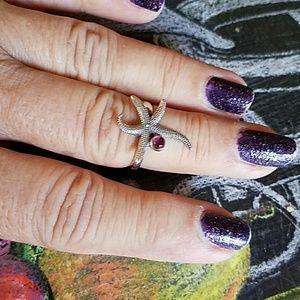 Pink Tourmaline Starfish Ring Sterling Silver